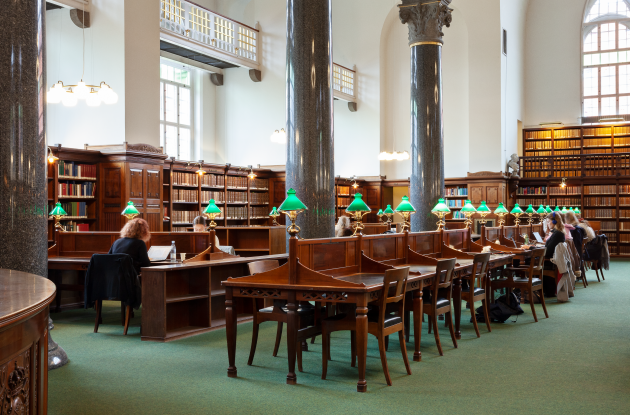 Reading room with classic green reading room lamps. The Royal library